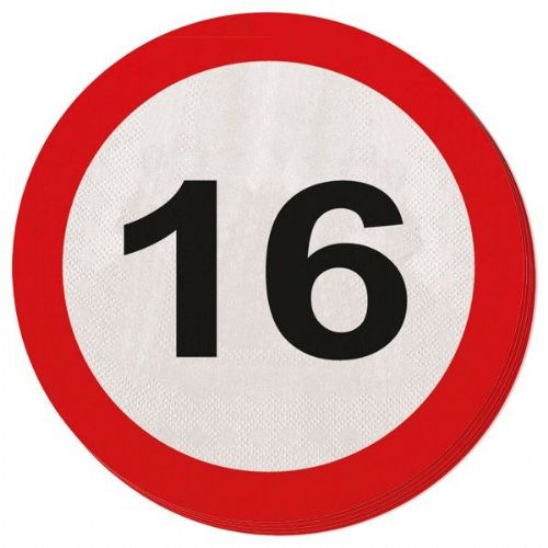 Traffic Sign 16th Party Napkins 20s Birthday Tableware Table Disposables